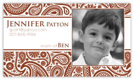 Passion Paisley Brick Red Calling Card