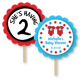 Seuss Spots Twins Baby Shower Cupcake Topper Picks
