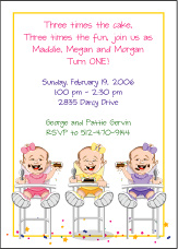 Triplets Cartoon Kids-1 GGG Birthday Invitation
