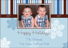 Blue Whimsy Photo Christmas Card