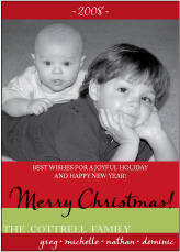 Colorbands Red Photo Christmas Card