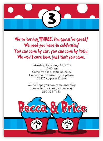 Thing 1 2 Dr Seuss Look Twins Birthday Invitation