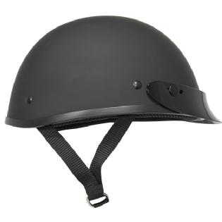 Ultra Slim Lightweight  Profile Fiberglass Black Matte Motorcycle Half Helmet
