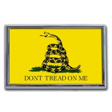 Don't Tread On Me Flag Chrome Auto Emblem