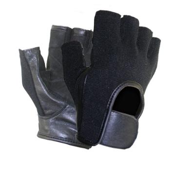 Men's Black Leather and Spandex Fingerless Riding Gloves