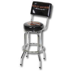 Harley Davidson Bar & Shield Bar Stool w/ Backrest
