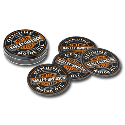 Harley Davidson Oil Can Coaster Set