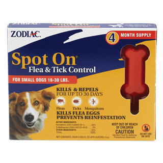 Zodiac Spot On Flea Drops For Small Dogs 16-30lbs 4-Pack