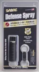 Sabre® 3-in-1 Pepper Spray - Hard Case with Key Ring