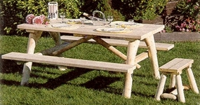 Log Picnic Table w/Attached Benches