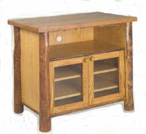 Old Hickory Television Stand with Wood Frame Doors