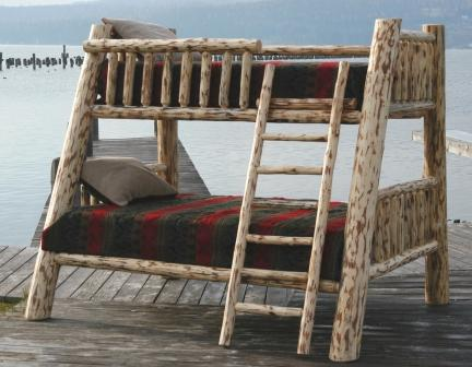 Mountain Log Bunk Bed Twin Over Fullqueen Sizes Lodge Craft