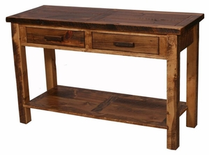 Weathered pine 2 drawer sofa table lodge craft - Pine sofa table with drawers ...