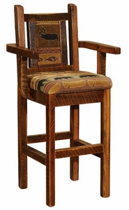 Barnwood Upholstered Bar Stool With Arms Lodge Craft