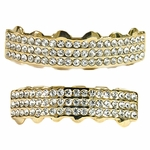 Gold Three Row Grillz Set
