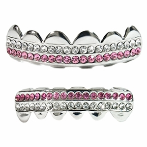 Silver 2-Row Pink Grillz Set
