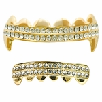 Gold Fangs 2-Row Grillz Set