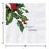 """5"""" Holly Greetings White Beverage Napkins 1000 ct"""