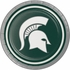Green and white Michigan State Dessert Plate sold in quantities of 8 / pkg, 12 pkg / case