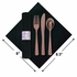"""8"""" x 8.5"""" Pre-rolled Linen-Like Marble CaterWrap Black Napkins with Rose Gold Cutlery 100 ct"""