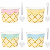 Ice Cream Party Treat Cups with Spoons 96 ct