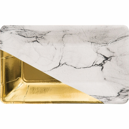 Marble and Gold Foil Rectangular Appetizer Plates by Elise 48 ct