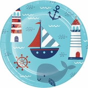 Nautical Baby Shower Dinner Plates 96 ct