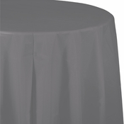 Glamour Gray Round Plastic Tablecloths 12 ct