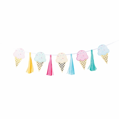 Ice Cream Party Tassel Banners 6 ct