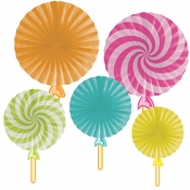 Candy Shop Party Paper Fans 30 ct