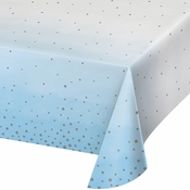 Blue and Silver Celebration Paper Tablecloths 6 ct