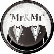 Mr. and Mr. Wedding Dinner Plates 96 ct