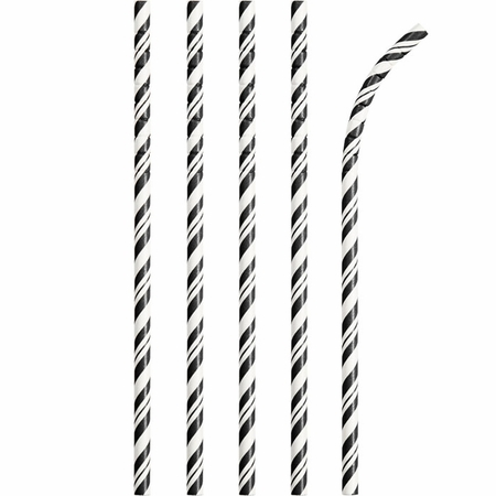 Bulk Black and White Striped Flex Paper Straws 144 ct - Napkins.com