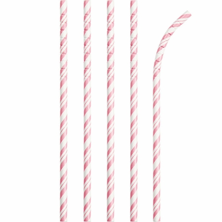 Bulk Classic Pink and White Striped Flex Paper Straws 144 ct - Napkins.com