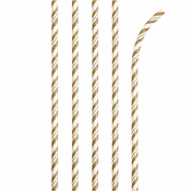 Bulk Gold and White Striped Flex Paper Straws 144 ct - Napkins.com