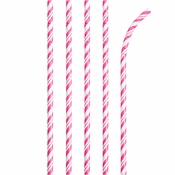 Bulk Candy Pink and White Striped Flex Paper Straws 144 ct - Napkins.com
