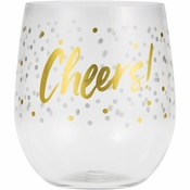 """Cheers"" 14 oz Plastic Stemless Wine Glasses by Elise 6 ct"