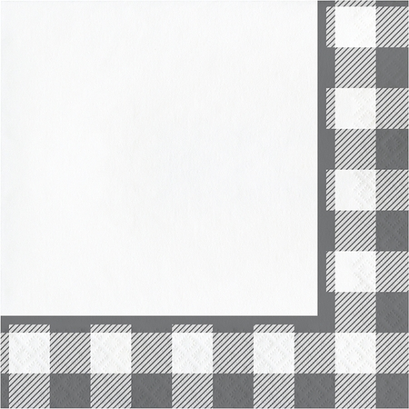 Gray and White Buffalo Check Luncheon Napkins 192 ct