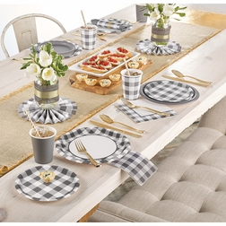 Gray and White Check Party Supplies