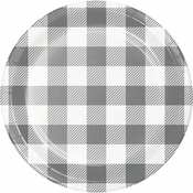 Gray and White Buffalo Check Dessert Plates 96 ct