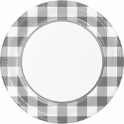 Gray and White Buffalo Check Dinner Plates 96 ct