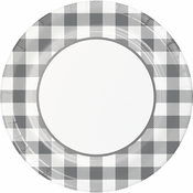 Gray and White Buffalo Check Banquet Plates 96 ct