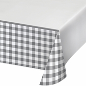 Gray and White Buffalo Check Paper Tablecloths 6 ct