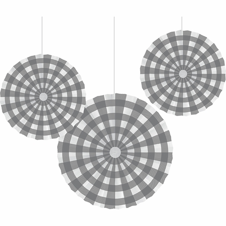 Gray and White Buffalo Check Paper Fans 18 ct