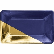 Navy and Gold Foil Rectangular Appetizer Plates by Elise 48 ct