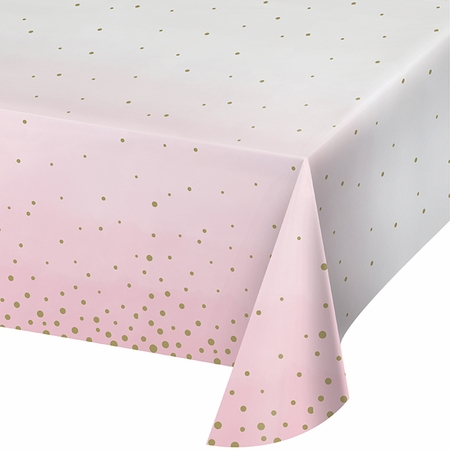 Pink and Gold Celebration Paper Tablecloths 6 ct