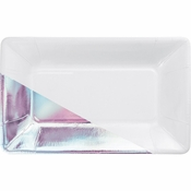 White and Iridescent Foil Rectangular Appetizer Plates by Elise 48 ct