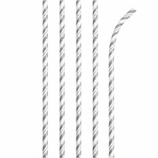 Bulk Silver and White Striped Flex Paper Straws 144 ct - Napkins.com