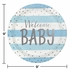 Blue and Silver Celebration Baby Shower Dinner Plates 96 ct