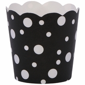 """1.75"""" x 1.5"""" Black and White Dots Baking Cups 200 ct"""